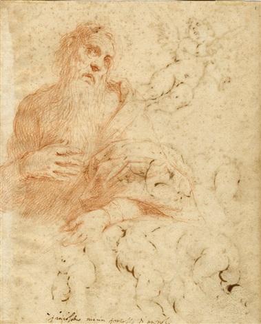 studio per un santo in adorazione (recto) / studio per putti e amorino in volo (verso) by jacopo palma il giovane