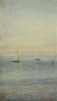 sailboats at sea by nikolai nikanorovich dubovskoy