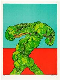 grüne figur by rudolf hoflehner