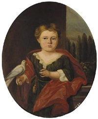 portrait of mary dudgeon in a green dress and red wrap, a pigeon perched on her right hand, a landscape beyond by john theodore heins sr.