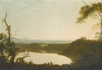 view of lake nemi, with mount circeo beyond, italy by joseph wright (of derby)