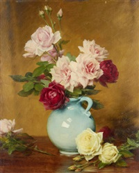 still life of roses by gustave bienvetu