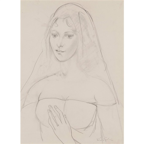 a veiled woman by léonard tsuguharu foujita