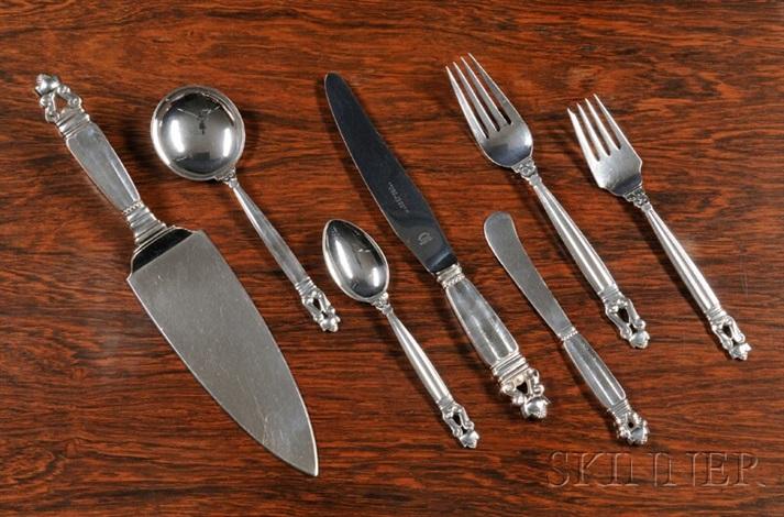 flatware set acorn pattern set of 73 by georg jensen co