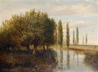 a river landscape (+ a cottage with a windmill beyond; pair) by hermanus jan hendrik rijkelijkhuysen