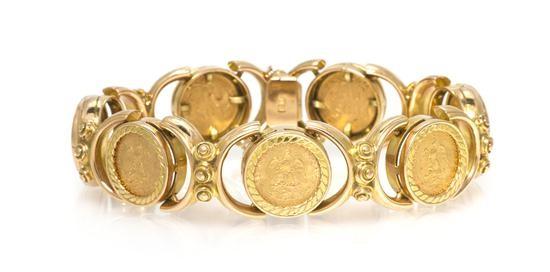 An 18 Karat Yellow Gold And Mexican Dos Pesos Coin Bracelet