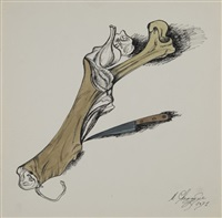 still life with a bone and a knife by mihail chemiakin