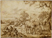 a company of harvesters resting before a village by zacharias blyhooft