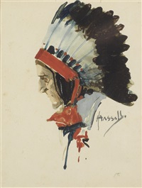 a study of a native american wearing a feathered headdress by john hassall