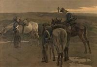 berittene soldaten bei morgenrot by robert von haug
