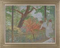 landscape with two women on a balcony by donald stanley vogel