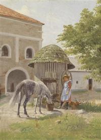 mädchen mit pferd am brunnen by hermann reisz