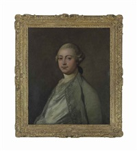 portrait of a gentleman, thought to be thomas vere (c.1681-1766), half-length, in a silk waistcoat and grey embroidered coat by thomas gainsborough