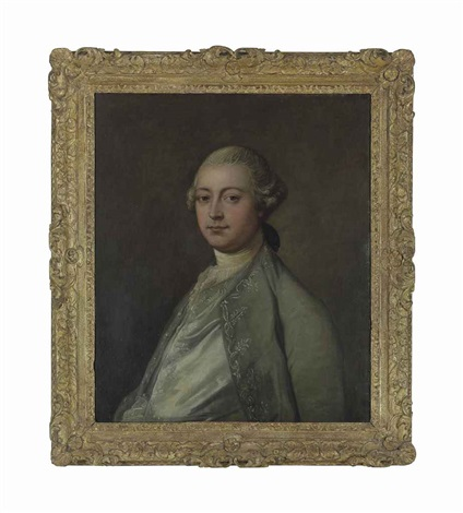 portrait of a gentleman thought to be thomas vere c1681 1766 half length in a silk waistcoat and grey embroidered coat by thomas gainsborough