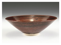 red tea bowl with boder pattern by toshiro ohi