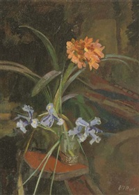 a still life with clivia and irises by henri frédéric boot