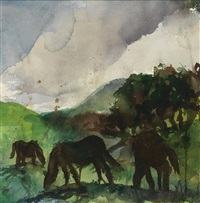 landscape with horses by malcolm morley