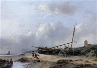 a beachscene with moored vessels on the shore by jan hendrik willem hoedt