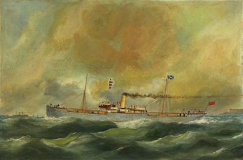 british steamer off le havre by edouard the younger adam