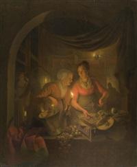 interieur mit küchenmägden bei kerzenschein by michiel versteegh