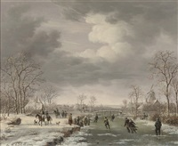skating on the outskirts of a village in winter by gerrit hendrik gobell