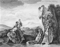 a river landscape with two peasants by deodat roger
