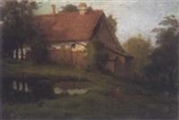 landschaft mit bauernhäusern by august hans merkl