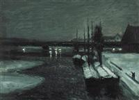 winterabend in einem hafen by alfred hermann helberger