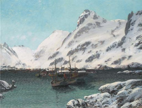a norwegian fishing village in the snow by sigvald simensen