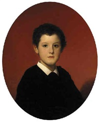 portrait of a young boy in a black smock with a white collar by hégésipe jean vetter