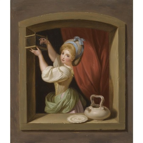 a young girl at the window placing a goldfinch in a cage by ludwig guttenbrunn