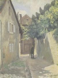 homme dans une ruelle à moudon by paul lepinard
