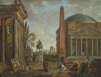 an architectural capriccio with the pantheon, an obelisk, an equestrian statue and a ruined temple, with classical figures conversing in the foreground by giovanni paolo panini