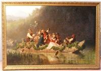 cortège de jeunes mariés en barque sur le starnberger see by julius kockert