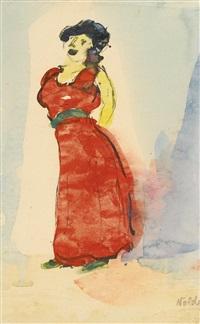 groteske sängerin (grotesque singer) by emil nolde