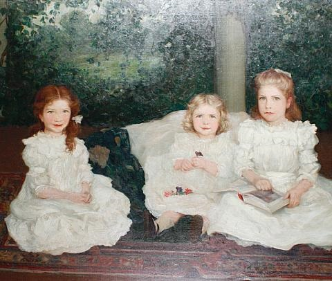 bernadette, a portrait of three sisters in a loggia by augustus vincent tack