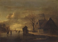 a winter landscape with skaters before a cottage by rafael govaertsz camphuysen