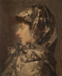 portrait d'une dame de profil by jean de la hoese