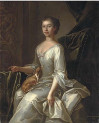 portrait of lady raymond of abbot's langley, seated, in an oyster satin dress, with a toy terrier in her lap, a plaster relief and green curtain beyond by jeremiah davison