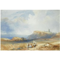 distant view of scarborough castle, yorkshire by charles bentley