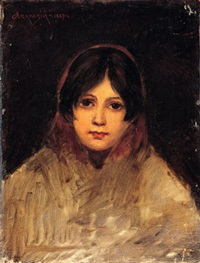 head of a woman with a scarf by isaak lwowitsh asknasij