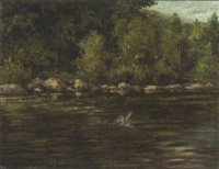 the priory pool, the river wye by william ellis barrington-browne