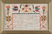 fraktur birth certificate, with central script surrounded by typical floral decoration by martin brechall