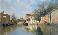 a venetian canal by rafael senet y perez