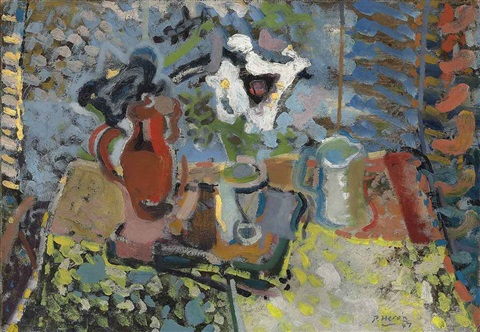 still life with red jug by patrick heron