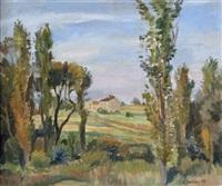 sommerliche landschaft mit bauernhof by helmut collmann