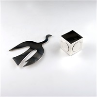 skulptur il volo und deckeldose (2 works) by lino sabattini