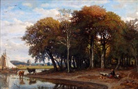 bord de rivière et sous bois by felix-hippolyte lanoue