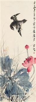 荷塘飞禽图 镜片 by tang yun