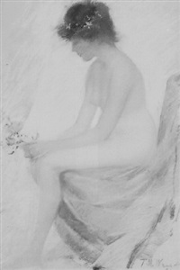 young girl seated - nude with flowers by theodore wendel